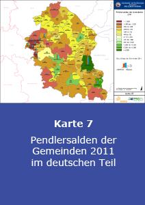 Pendlersalden der Gemeinden 2011 im deutschen Teil