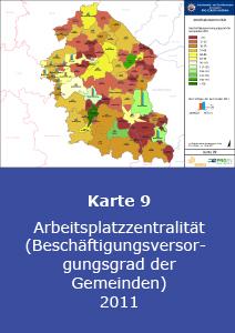 Arbeitsplatzzentralität (Beschäftigungsversorgungsgrad der Gemeinden) 2011