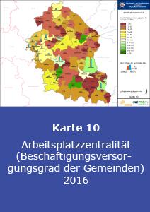 Arbeitsplatzzentralität (Beschäftigungsversorgungsgrad der Gemeinden) 2016