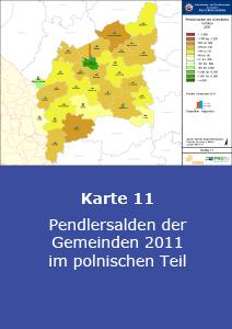 Pendlersalden der Gemeinden 2011 im polnischen Teil