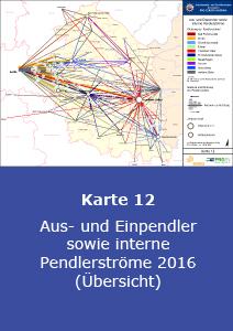 Aus- und Einpendler sowie interne Pendlerströme 2016 (Übersicht)