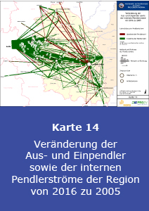 Veränderung der Aus- und Einpendler sowie der internen Pendlerströme der Region von 2016 zu 2005