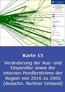 Veränderung der Aus- und Einpendler sowie der internen Pendlerströme der Region von 2016 zu 2005 (Ausschnitt Berliner Umland)