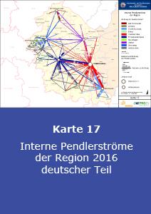 Interne Pendlerströme der Region 2016 – deutscher Teil