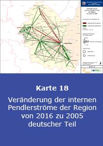 Veränderung der internen Pendlerströme der Region von 2016 zu 2005 – deutscher Teil