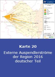 Externe Auspendlerströme der Region 2016 – deutscher Teil