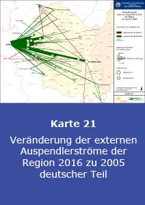 Veränderung der externen Auspendlerströme der Region 2016 zu 2005 – deutscher Teil