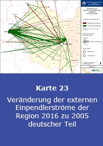 Veränderung der externen Einpendlerströme der Region 2016 zu 2005 – deutscher Teil