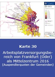 Arbeitsplatzversorgungsbereich von Frankfurt (Oder) als Mittelzentrum 2016 (Auspendlerquoten der Gemeinden)