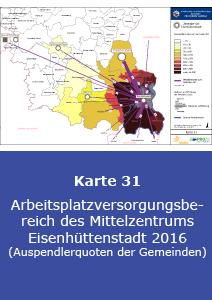 Arbeitsplatzversorgungsbereich des Mittelzentrums Eisenhüttenstadt 2016 (Auspendlerquoten der Gemeinden)