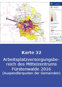 Arbeitsplatzversorgungsbereich des Mittelzentrums Fürstenwalde 2016 (Auspendlerquoten der Gemeinden)