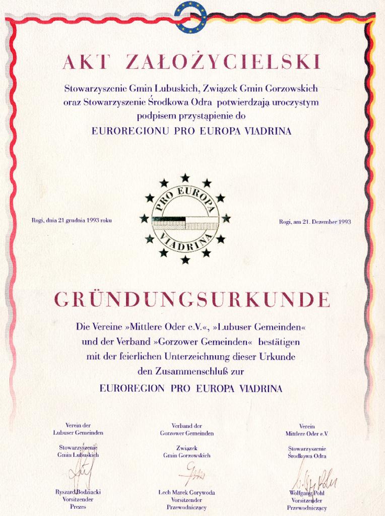 Gründungsurkunde Euroregion Pro Europa Viadrina